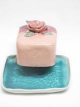 Nádoby - Maselnička modro ružová s ružou - 11350257_