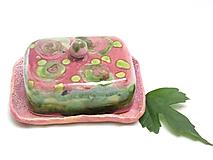 Nádoby - maselnička ružovo zelená - 11350281_