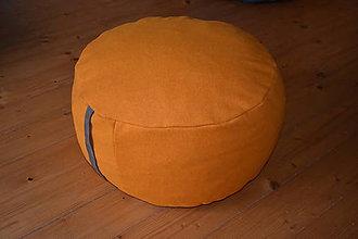 Nábytok - Vlnený puff oranžový+vankúš - 11348664_