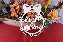 Dekorácie - Drevené vianočne ozdoby z dreva s menom - 11347923_