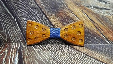 Doplnky - Pánsky drevený motýlik DOTS DARK - 11348336_