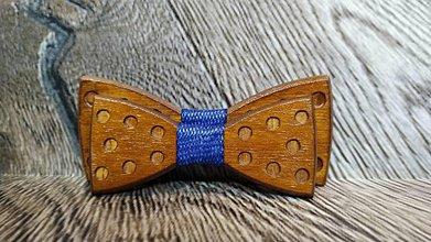 Doplnky - Pánsky drevený motýlik DOTS DARK otec a syn - 11348628_