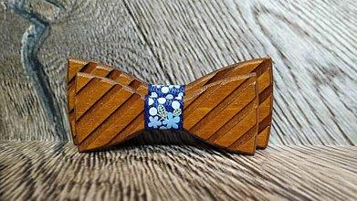Doplnky - Pánsky drevený motýlik TOPAN 3D TMAVÝ otec a syn - 11348639_