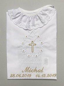 Detské oblečenie - Košieľka na krst k01 bielo-zlatá - 11349024_
