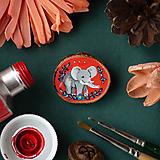 Odznaky/Brošne - Ručně malovaná brož se slonem - 11352992_