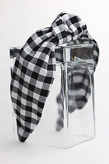 Ozdoby do vlasov - Čelenka bielo čierna károvaná - 11354323_