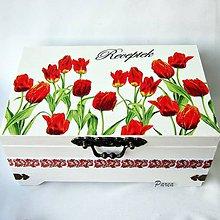 Krabičky - Šperkovnica dvojúrovňová - tulipány - 11355227_