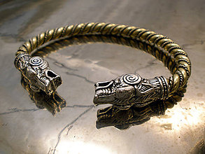 Šperky - Vlci - vikingský obručový náramok - 11355344_