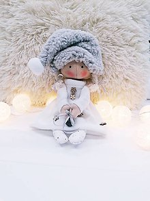 Bábiky - Vianočný škriatok (bábika) v bielom - 11352002_