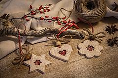 Dekorácie - Linecké koláčiky - set vianočné ozdoby  (červená) - 11353725_