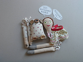 Hračky - Gombíková bábika Elka - 11353156_
