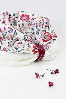 """Šály - Pôvabný dámsky kvetinový nákrčník z ľanu a bavlny """"Blanca"""" - 11352369_"""
