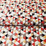 Textil - tehlové trojuholníky, 100 % bavlna Francúzsko, šírka 150 cm - 11352388_