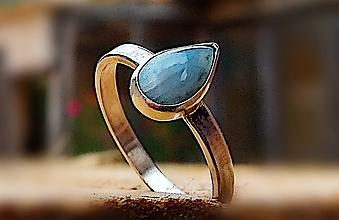 Prstene - Strieborný prsteň Ag 925/1000 s prírodným larimarom - 11352788_