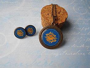 Sady šperkov - Žltý kvietok v modrej - 11354120_