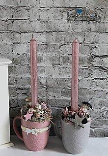 Dekorácie - Dekoračná vianočná šálka ružovo-čierna so sviečkou - 11353090_