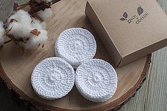 Úžitkový textil - Sada bielych háčkovaných odličovacích tampónov z biobavlny (15 ks v krabičke) - 11351756_