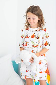 Detské oblečenie - Detská nočná košeľa Líška Plíška a zajac Ervín (134-140) - 11355069_