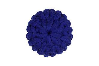 Úžitkový textil - Merino puff vankúš veľký (Modrá) - 11353225_