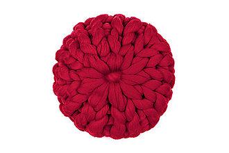 Úžitkový textil - Merino puff vankúš veľký (Bordová) - 11353232_