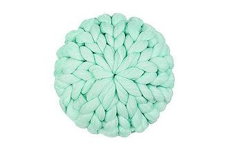 Úžitkový textil - Merino puff vankúš veľký (Tyrkysová) - 11353237_