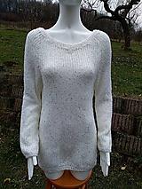 - Výpredaj - Jemný pletený trblietavý pulóvrik biely - 11353911_