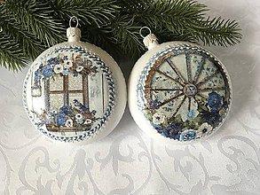 Dekorácie - Vianočná ozdoba - medailón modrý - 11353029_