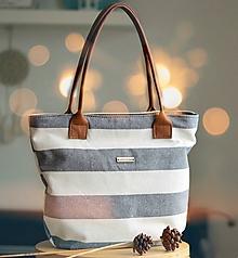 Veľké tašky - Taška Melody (ľan - pásik) - 11358292_