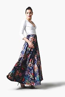 Sukne - Sukňa zamatová dlhá modrá so vzorom - 11358473_