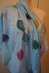 Šatky - hodvábna šatka Modré tulips - 11355597_
