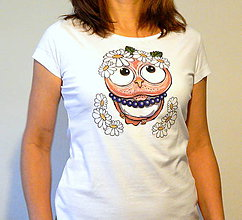 Tričká - Dámske bavlnené tričko - OčiPuči Margarétka - 11357637_