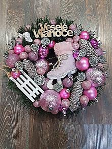 """Dekorácie - Vianočný venček na dvere """"ružová korčuľa"""" - 11358523_"""