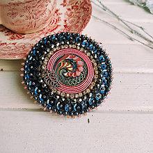 Odznaky/Brošne - Pink spiral - vyšívaná brož - 11357594_