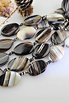Minerály - achát korálky 20x30mm ováliky, cena za 3ks - 11357189_
