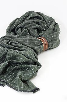 Doplnky - Pánsky zelený kockovaný exkluzívny šál z ľanu s remienkom - 11355722_