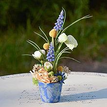 Dekorácie - Modrá ikebana na stôl - 11356404_