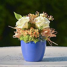 Dekorácie - Modrá ikebana - 11356476_
