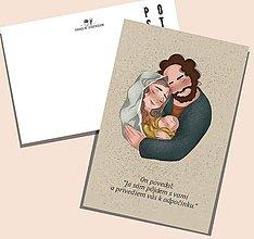 Grafika - Svätá rodina - vianočná pohľadnica -pozdrav - ilustrácia - 11355543_