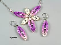 Náhrdelníky - Hviezdica - náhrdelník - ružová-biela-strieborná - 11357659_