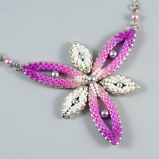 Hviezdica - náhrdelník - ružová-biela-strieborná
