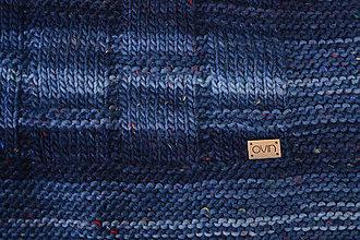 Úžitkový textil - pončoDEKA, 100% merino (Modrá strakatá) - 11356023_