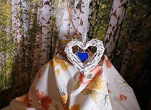 Dekorácie - Tiffany srdce v prútenom srdci - 11358385_
