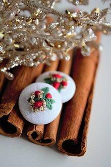 Náušnice - Náušky, napichovačky - vianočné bobuľky - 11355660_