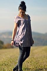 Topy - Lněný top / šaty - Lila (S) - 11358851_