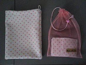 Úžitkový textil - Sada odličovacích štvorcov a žinienky *Wafle* (Biela) - 11356732_