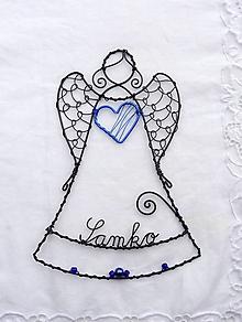 Dekorácie - anjelik s menom...malý ochranca (Modrá) - 11362213_