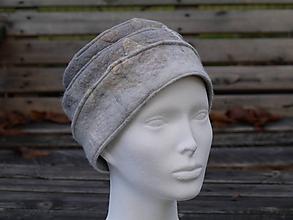 Čiapky - Šedý klobúk z Merino vlny - 11361110_