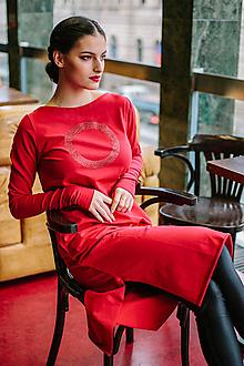 Šaty - FNDLK úplet. šaty 450 RVL_glitter midi s rozparky - 11360022_