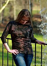 Tričká - Dámske šité tričko maľované, batikované TECH - 11359735_