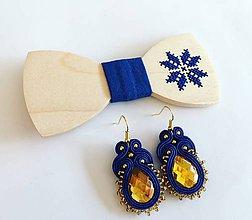 Doplnky - .vyšívaný motýlik hviezda + náušnice v modrej - 11359883_